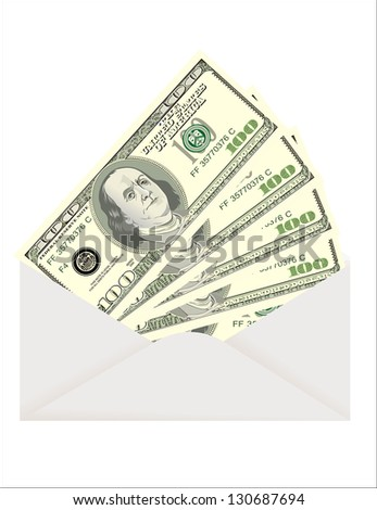 Envelope with dollars isolated on white - stock vector