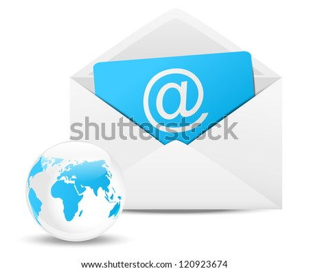 Envelope with Earth planet - email concept - stock vector