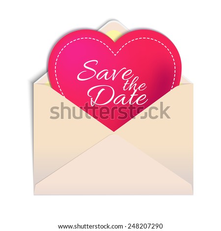 Envelope with heart isolated on white background. For your postcards, greetings and invitations - stock vector