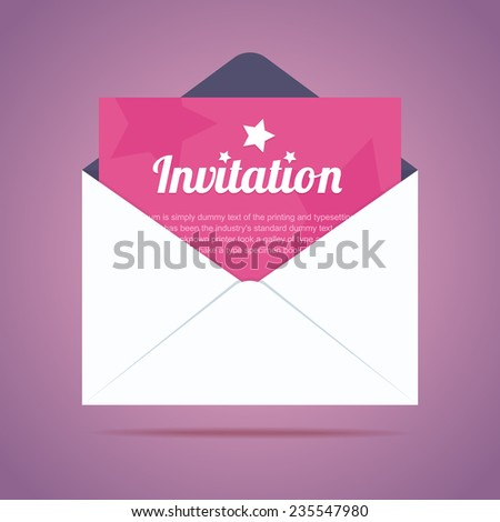 Envelope with invitation card and star shapes. Vector illustration - stock vector