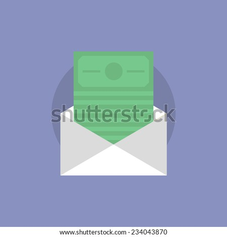 Envelope with money bills, e-mail dollars transfer, finance postal delivery service. Flat icon modern design style vector illustration concept. - stock vector