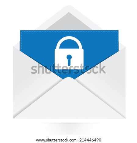 envelope with security icon - stock vector