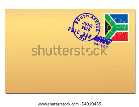 envelope with south africa stamp - stock vector