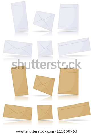Envelopes Set/ Illustration of a set of icon mail envelopes on various format over white background for email contact symbol, with glossy effect