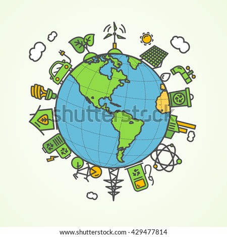 Enviroment Concept. Save The Planet. Vector illustration