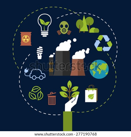 Environment and ecological conservation concept with green icons for recycling, electric cars, green leaves, eco-friendly energy with a radiation symbol, gas mask and industrial chimney belching fumes - stock vector