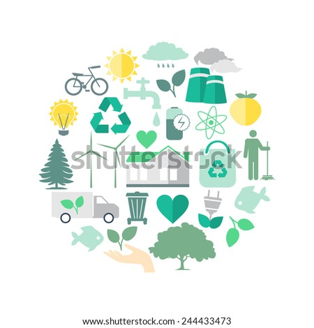 Environment and Ecology Icon Round Composition, Flat  Vector  Illustration