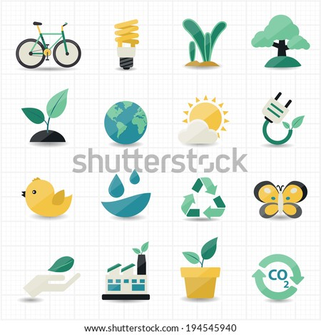 Environment and Green Icons - stock vector