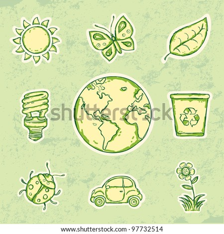Environment and recycle icons - stock vector