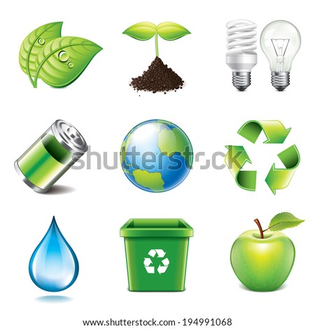 Environment and recycling icons high detailed vector set - stock vector