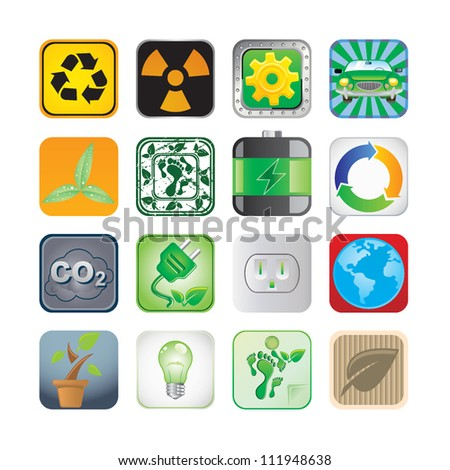 Environment app icon set - stock vector