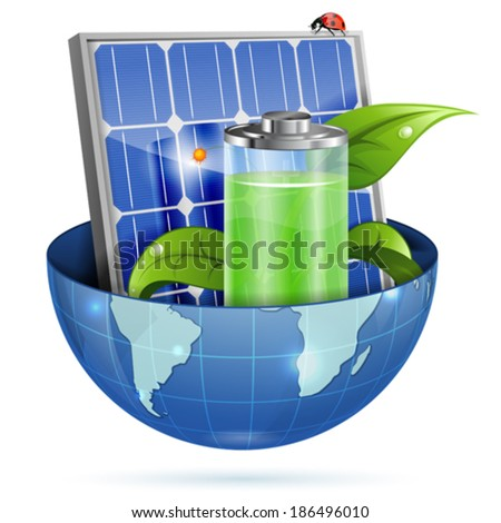 Environment Concept with Solar Panel, Young Green Sprout, Battery and Earth, vector isolated on white background - stock vector