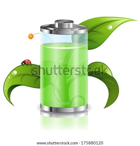 Environment Concept with Young Green Sprout and Battery, vector isolated on white background - stock vector