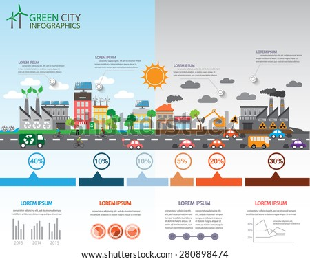 Environment, ecology infographic elements. Environmental risks and pollution, ecosystem.  Can be used for background, layout, banner, diagram, web design, brochure template. Vector illustration - stock vector