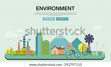 Environment, ecology infographic elements. Environmental risks and pollution, ecosystem. Can be used for background, layout, banner, diagram, web design, brochure template. Vector flat illustration - stock vector