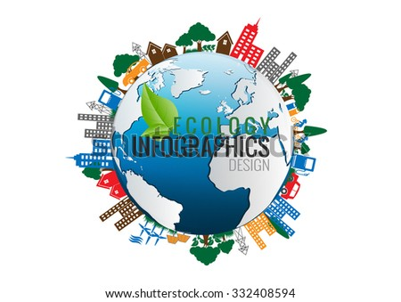Environment Ecology Infographic / Energy earth concept  on white background. vector illustration.