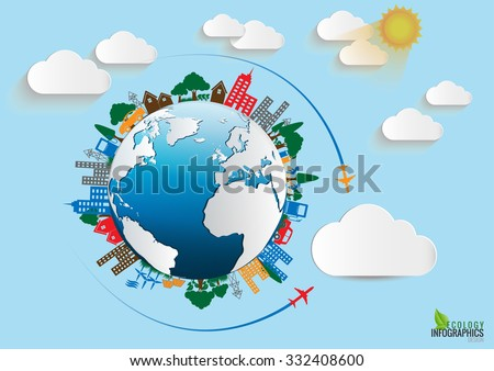 Environment Ecology Infographic / Energy  earth concept. vector illustration.