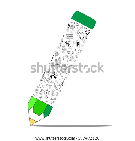 environment education concept pencil - stock vector