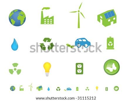 Environment friendly ecological icon set - stock vector