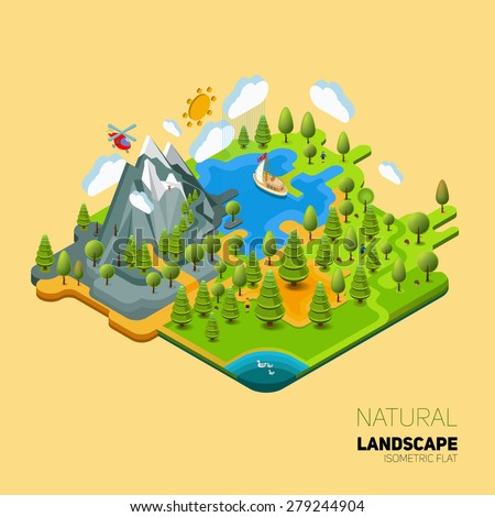 Environment friendly natural landscape with mountains river and forest around. Vector work flat isometry 3D concept. - stock vector