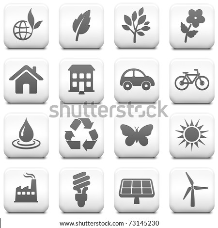 Environment Icon on Square Black and White Button Collection Original Illustration - stock vector