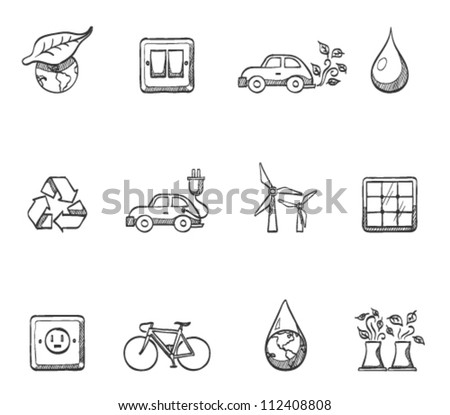 Environment  icon series in sketch - stock vector