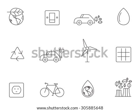 Environment icons in thin outlines. Go green, alternative energy source. - stock vector