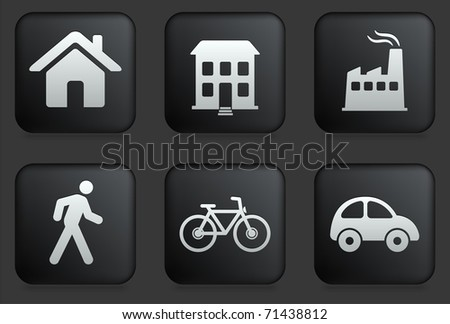 Environment Icons on Square Black Button Collection Original Illustration - stock vector