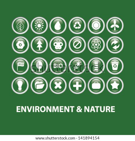 environment, nature, ecology glossy buttons, icons set, vector - stock vector