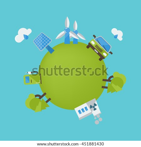 Environment protection design with wind turbine biofuel car solar panel green planet on blue background vector illustration - stock vector