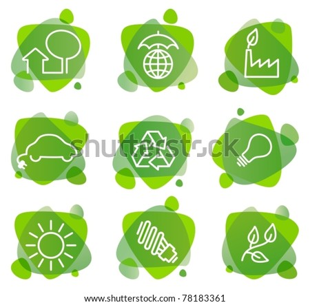 Environment protection icons - stock vector