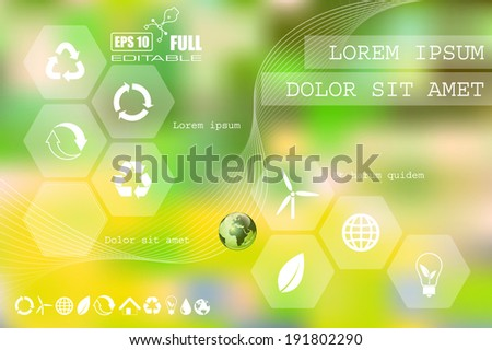 Environment. Vector web and mobile interface info graphic template. Flat corporate website design. Multifunctional media background. Editable. Options, Icon, Banner. Eco energy environmental concept. - stock vector
