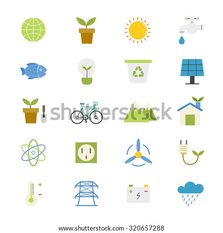 Environmental and Green Energy Flat Icons color - stock vector