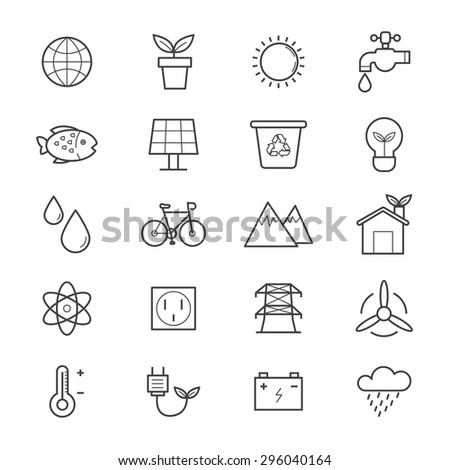 Environmental and Green Energy Icons Line - stock vector