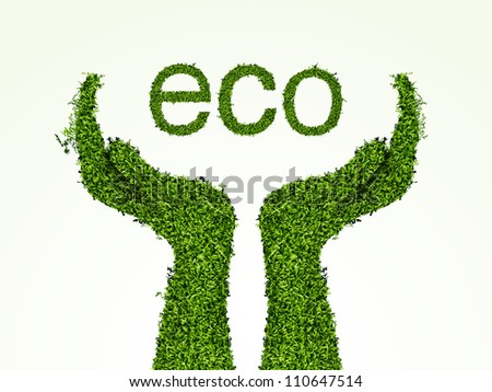 environmental care, the hands of the grass. concept of ecology - stock vector