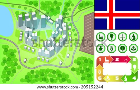 environmental city map and icons set with Iceland flag vector illustration - stock vector