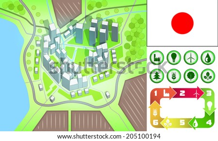 environmental city map and icons set with Japan flag vector illustration - stock vector