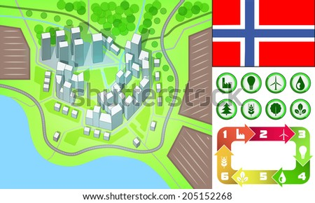 environmental city map and icons set with Norway flag vector illustration - stock vector