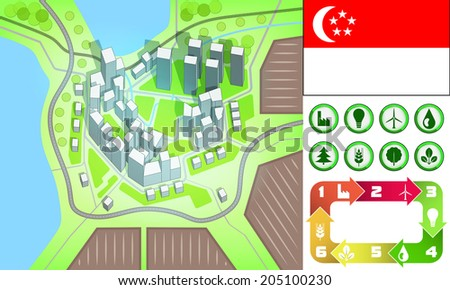 environmental city map and icons set with Singapore flag vector illustration - stock vector