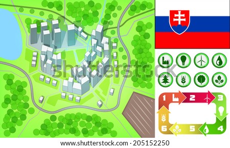 environmental city map and icons set with Slovakia flag vector illustration - stock vector