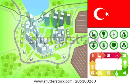 environmental city map and icons set with Turkey flag vector illustration - stock vector