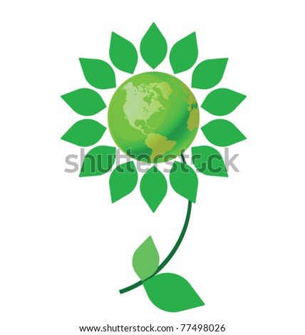 Environmental climate change flower with green earth - stock vector