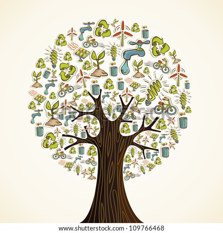 Environmental conservation hand drawn icons in tree shape. Vector illustration layered for easy manipulation and custom coloring. - stock vector