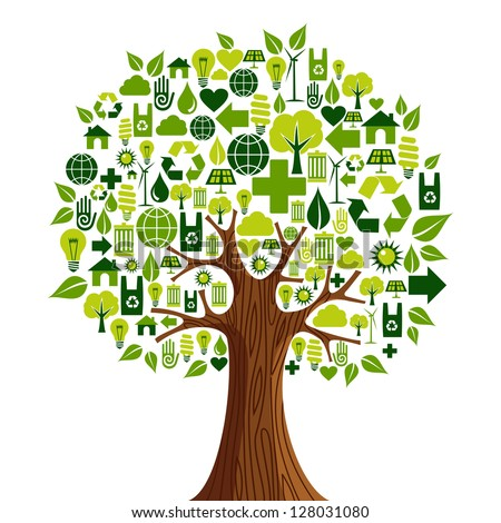 Environmental conservation icons set in tree shape. Vector illustration layered for easy manipulation and custom coloring. - stock vector
