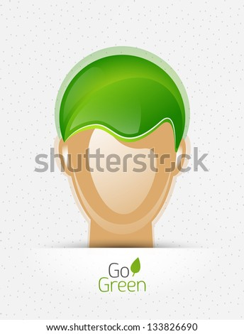 Environmental eco concept - human head with leaf instead of hair cut - stock vector