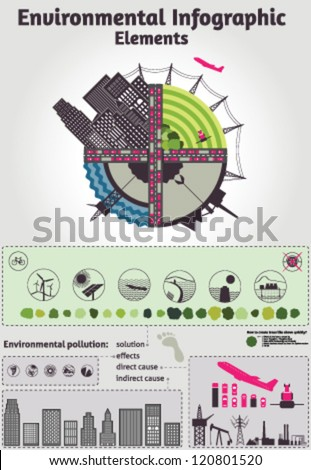 Environmental Infographic Elements - about unsustainable economy: effects, causes, solution - stock vector
