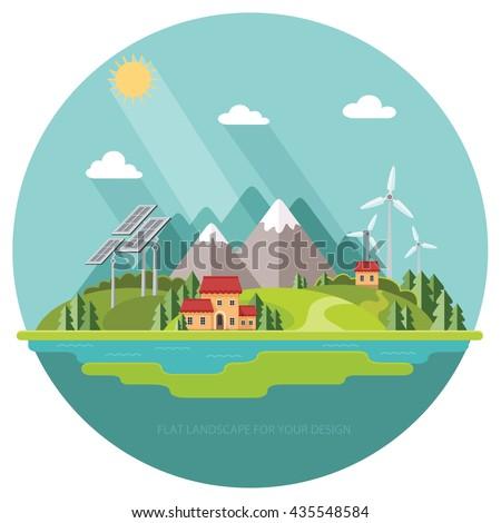 Ecofriendly Environmental Landscape Cottages Mountains Background