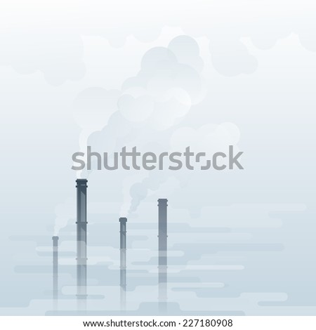 Environmental pollution, industrial smoke from chimney, smog and fog in sky, ecology concept, eps10 illustration - stock vector