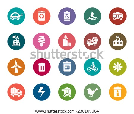 Environmental Protection Color Icons - stock vector