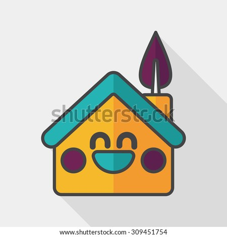 Environmental protection concept flat icon with long shadow, eps10; greenhouses; green house - stock vector